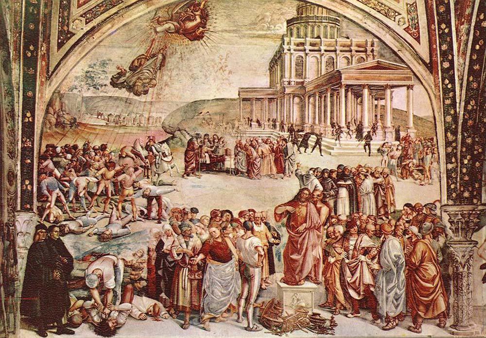 Лука Синьорелли (1445-1523). Проповедь и дела Антихриста.