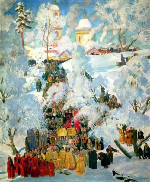 Зима. Крещенское водосвятие. Кустодиев Борис Михайлович