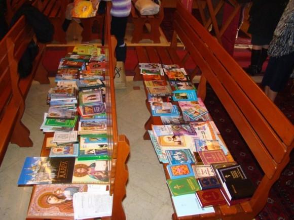 До сих пор у русской общины нет своего собственного храма, вот так продается православная литература.