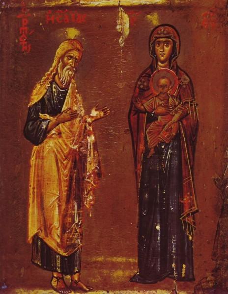 """Богородица и пророк Исайя (с тем, что прорек """"Се Дево приимет во чреве"""" интресно, что изображается он как прообраз Симеона Богопримца из """"Сретения"""", то есть как бы принимающим Дитя на руки. Здесь: встреча Ветхого и Нового Завета, встреча человека и Бога, встреча прообраза с образом, встреча события и его тени, поэтому Божия Матерь изображена почти как на иконе Знамения)"""