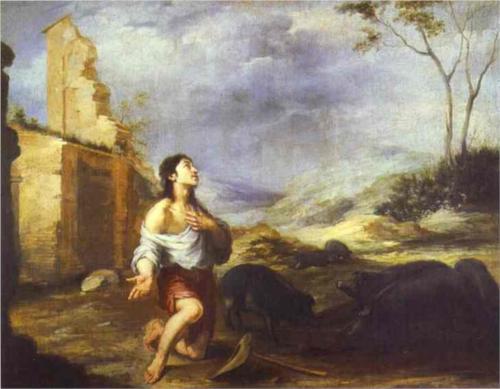 Блудный сын кормит свиней. Бартоломео Мурильо. 1660