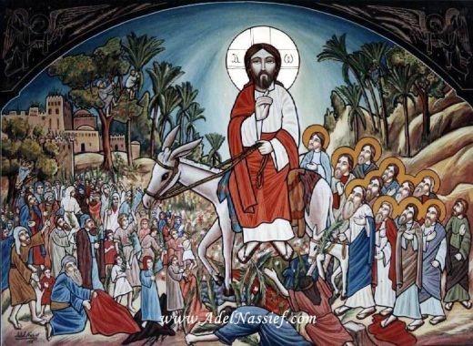 Вход Господень в Иерусалим. Коптская икона