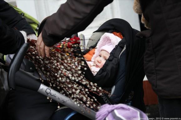 Вербный крестный ход с младенцами