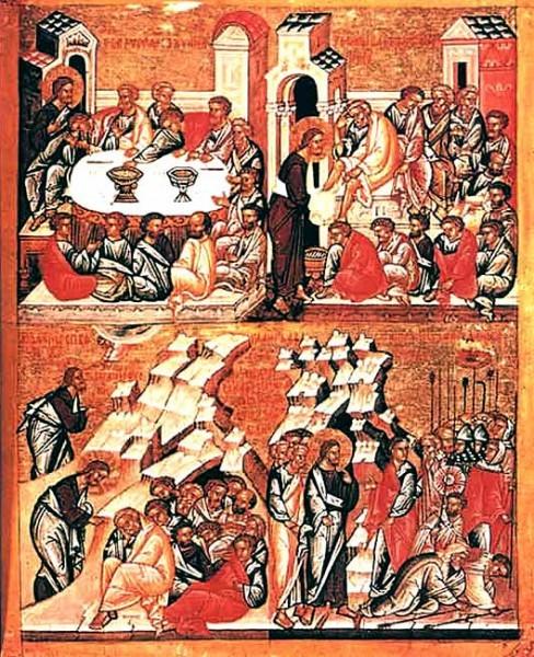 Тайная вечеря. Омовение ног. Моление о чаше. Предательство Иуды. XV — начало XVI века Новгород