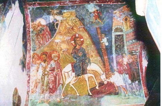 Вход Господень в Иерусалим. Греческая фреска
