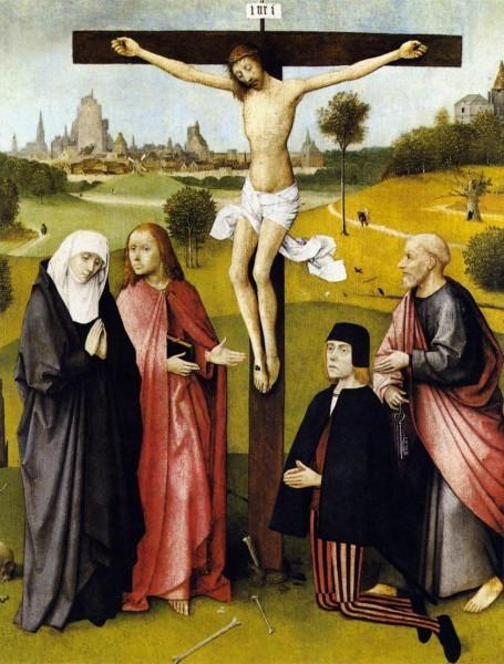 И. Босх. Распятие с донатором. 1480-1485