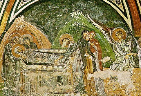 Погребение Христа (фреска крипты кафоликона монастыря Осиос Лукас) XI в.