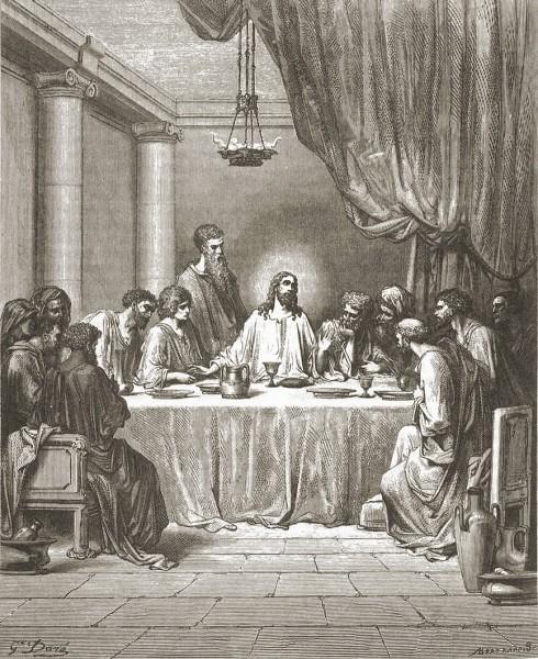 Поль Густав Доре Тайная Вечеря Гравюра 1865