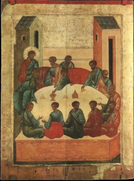 Тайная Вечеря Икона Древней Руси XI-XVI веков Из Успенского собора Кирилло-Белозерского монастыря. Около 1497 г.