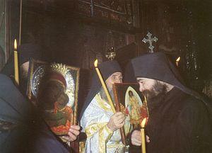 Старец Ефрем во время пасхального богослужения в Филофее