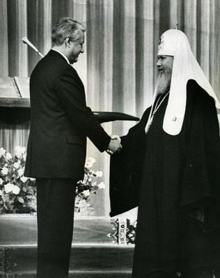 Патриарх Алексий II на инаугурации Президента Б.Ельцина