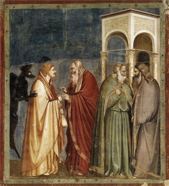 «Иуда, получающий плату за предательство», Джотто ди Бондоне