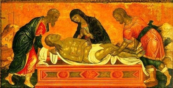 Положение во гроб. (икона критской школы)