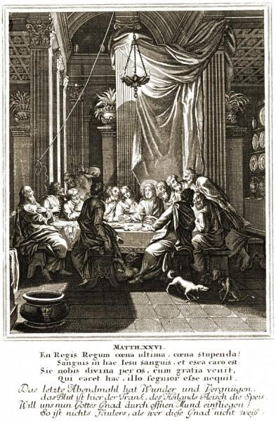 Каспар Луикен Тайная Вечеря Гравюра на меди 1712