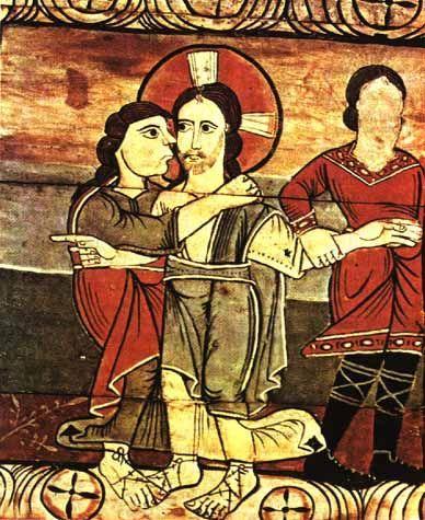 Поцелуй Иуды.Романская роспись на кессонном потолке в Циллисе, ок. 1160 г.