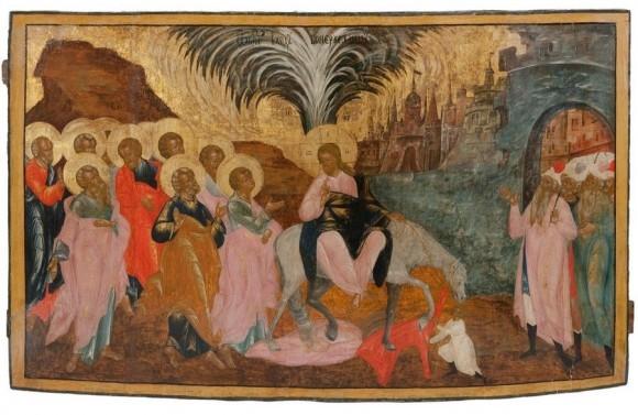 Вход Господень в Иерусалим. Русская икона, конец 17 века