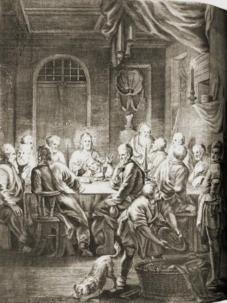 Маттиас Шейтс Тайная Вечеря Гравюра на дереве 1672