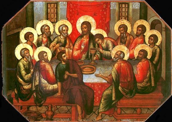 """Симон Ушаков Икона """"Тайная вечеря"""" 1685 Икона помещалась над Царскими вратами в иконостасе Успенского собора Троице-Сергиева монастыря"""