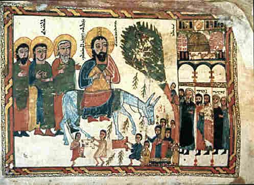 Вход Господень в Иерусалим. Сирийская икона