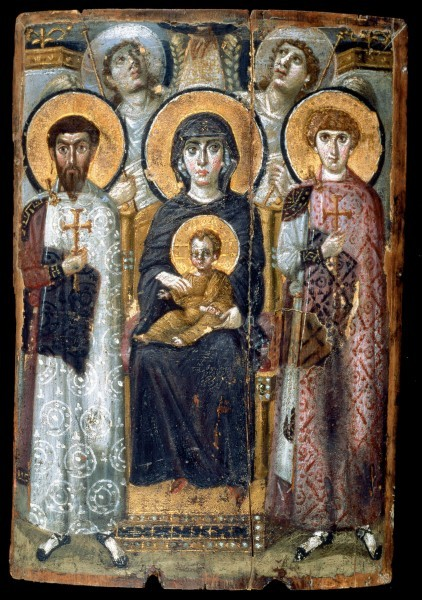 Богоматерь с Младенцем и свв. Феодором и Георгием. Энкаустическая икона. Вторая половина VI в. Монастырь св. Екатерины на горе Синай