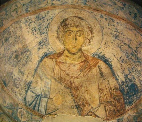 Фреска конхи придела св. Георгия Софийского собора Киева. Ок. 1037 г. Иллюстрация к к материалу: Икона Георгия Победоносца