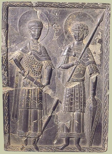 Свв. Георгий и Димитрий. Резная икона на темном сланце. Кон. XI - нач. XII в. Византия. Найдена в Херсонесе в 1894г.ГЭ, Спб.
