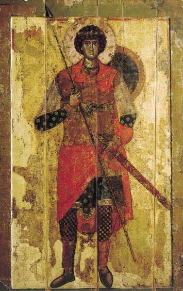 Икона. 1130 - 1140 гг. Новгород. ГТГ, Москва Иллюстрация к к материалу: Икона Георгия Победоносца