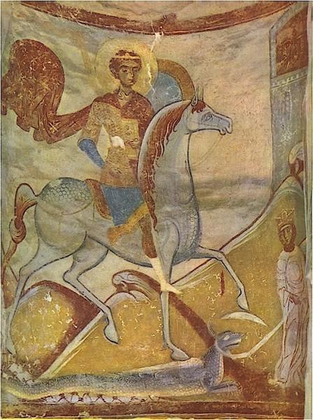 Фреска диаконника церкви св. Георгия в Старой Ладоге. Последн. четверть XII в. Старая Ладога, Россия