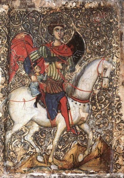 Чудо св. Георгия об избавлении отрока из плена. Середина XIII в. Британский музей, Лондон
