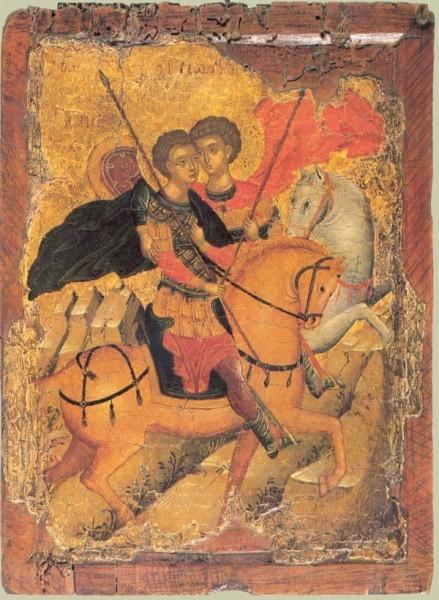 Свв.Георгий и Димитрий на конях. Перв. половина XV в. Византия. Частная коллекция Иллюстрация к к материалу: Икона Георгия Победоносца