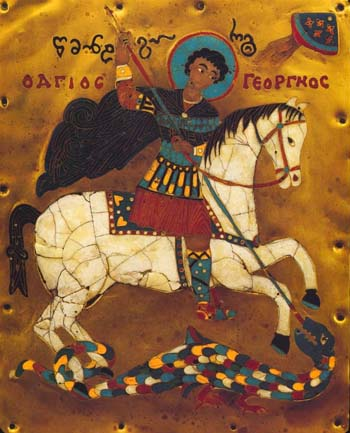 Чудо св.Георгия о змие. Эмаль. XV в. Музей изобразительных искусств, Тбилиси