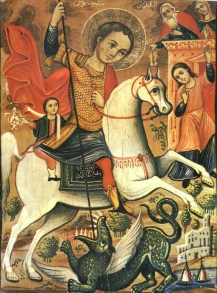 Двойное чудо св. Георгия. Вторая половина XIX в. Спасский монастырь, Сидон (Сайда), Ливан Иллюстрация к к материалу: Икона Георгия Победоносца