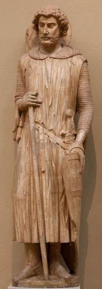 Св. Георгий. Скульптура фасада собора Нотр-Дам в г.Шартре. 1230-1235 гг. Ранняя готика. Франция.