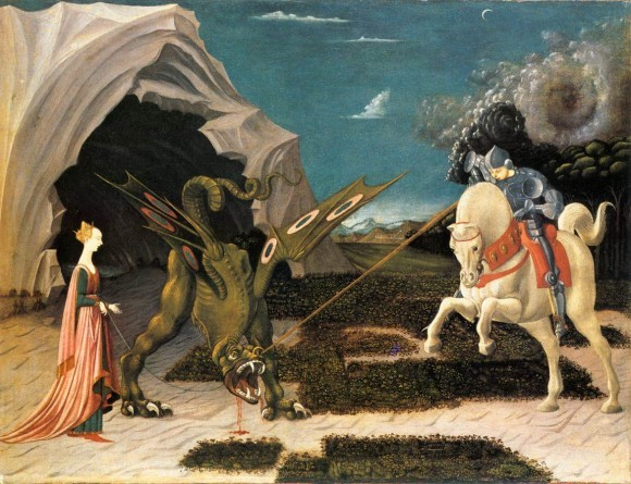 Паоло Уччелло. Битва св. Георгия с драконом. Ок. 1456 г. Раннее Возрождение. Национальная галерея, Лондон