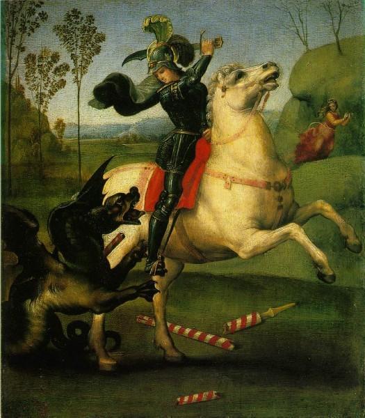 Рафаэль Санти. Св. Георгий, побеждающий дракона. 1505г. Лувр, Париж