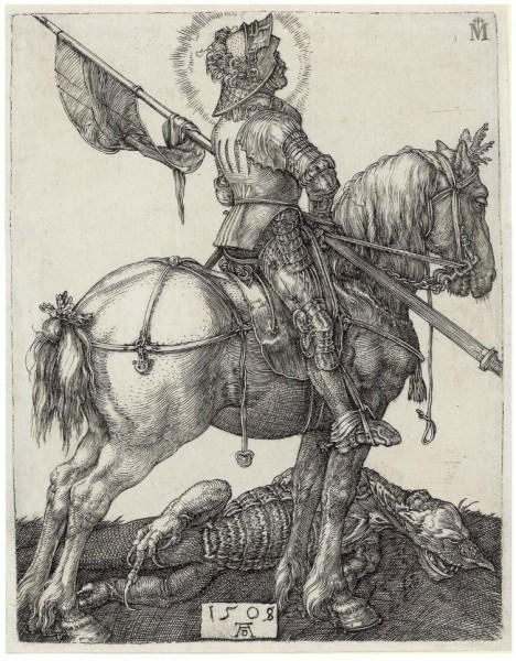 Альбрехт Дюрер. Св. Георгий. Гравюра. 1508 гг. Северное Возрождение