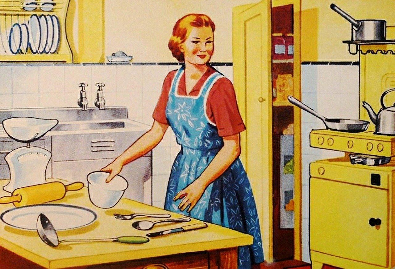 Открытка хозяйка на кухне