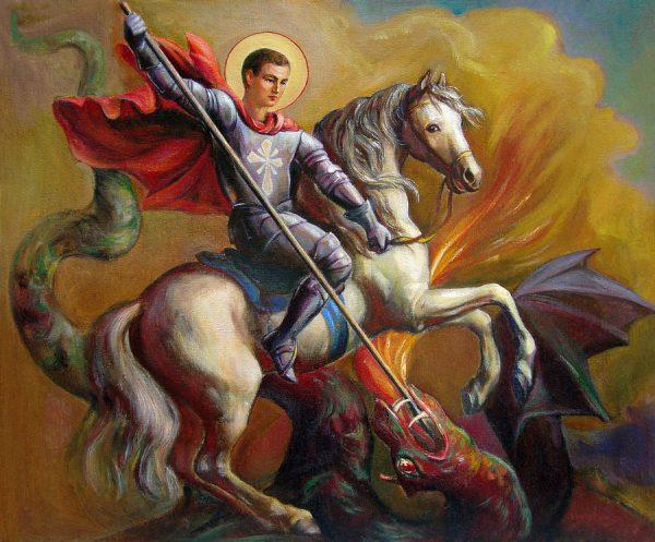 Георгий Победоносец поражает дракона. Картина Святозара Ненюка