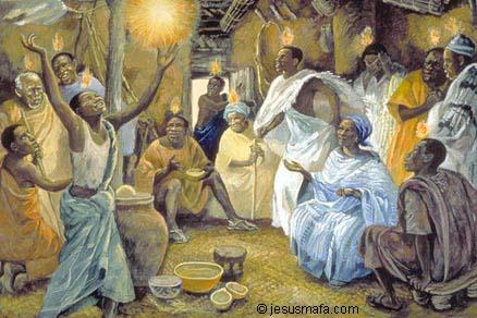 Современная китайская картина: Сошествие Святого Духа на апостолов