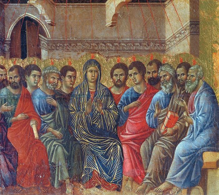 Сошествие Святого Духа на апостолов. Маэста (фрагмент). Дуччо.