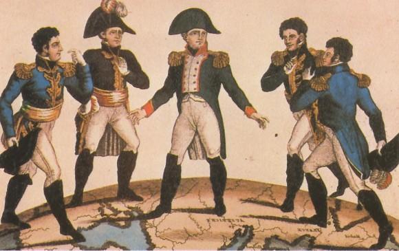 Наполеон Бонапарт делит Европу между своими родственниками. Английская карикатура. Раскрашенная гравюра