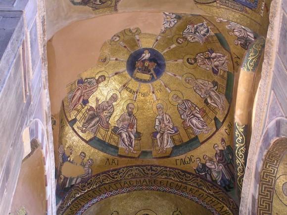 Пятидесятница. Мозаика купола церкви Осиос Лукас в Фокиде. около 1000г.