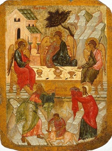 Святая Троица. Пятидесятница Двусторонная икона Святой Троицы и главы Иоанна Предтечи