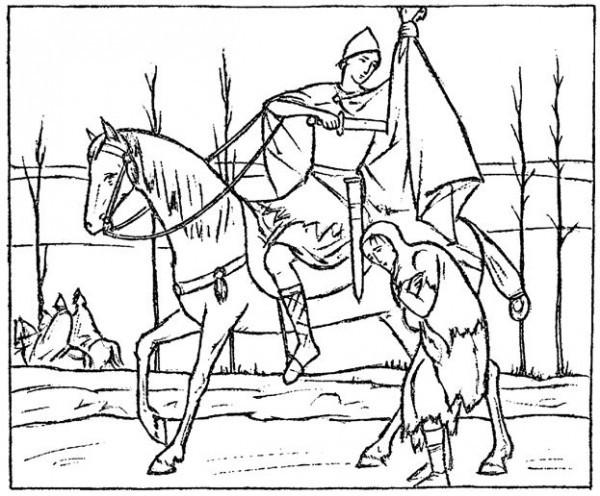 Святитель Мартин Турский и нищий. Современный рисунок
