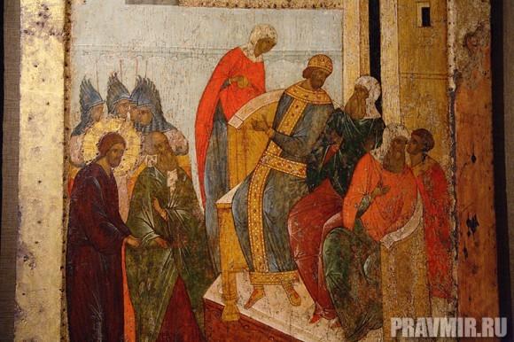 Христос перед Пилатом. Икона из праздничного ряда иконостаса Успенского собора Кирилло-Белозерского монастыря.