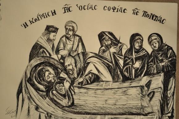 Кончина преподобной Софии. Рисунок неизвестного художника
