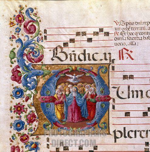 Святая Троица. Пятидесятница Миниатюра, 15 век, Сиеннский собор