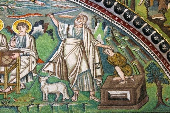 Авраам отдает сына на заклание. Мозаика Равенны. Сен Витале.