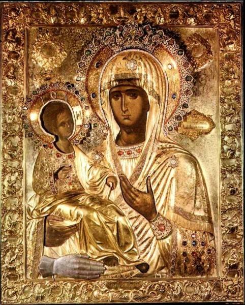 икона Троеручица, монастырь Хиландар, Афон