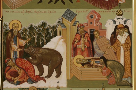 Икона прп. Саввы Сторожевского. Клейма. Работа Павла Бусалаева